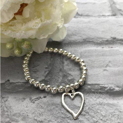 Silver Beaded Open Heart Charm Bracelet