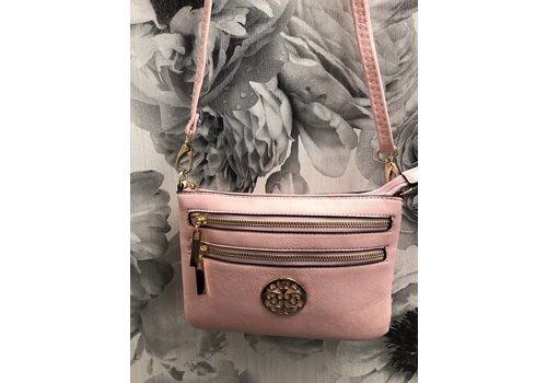 Small Gold Disc DOUBLE ZIP Crossbody Bag (More Colours)