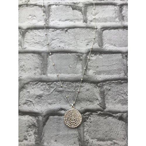 Silver Diamante Disc Pendant Necklace