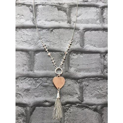 Silver & Rose Gold Heart Tassel Gem Pendant Necklace