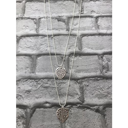 Silver Double Heart Pendant Necklace