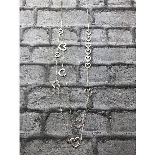 Silver Multi Chain Heart Necklace