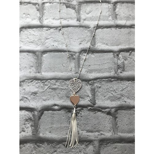 Silver & Rose Gold Heart Tassel Pendant Necklace