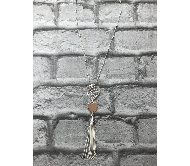 Silver & Rose Gold Heart Tassel Pendant Necklace