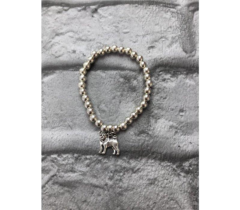 Pug Beaded Elasticated Silver Bracelet