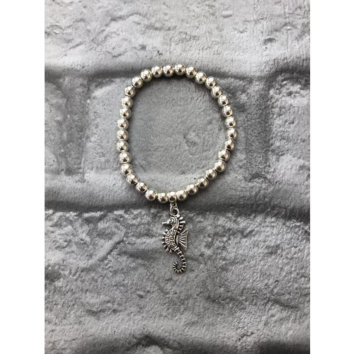 Sea Horse Beaded Elasticated Silver Bracelet