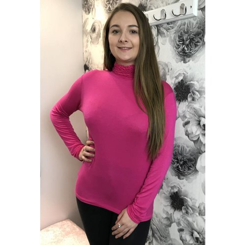 Cerise Pink LOLA Frill Polo Neck