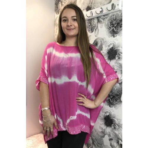 Cerise Pink DAYNA Tie Dye Sequin Top