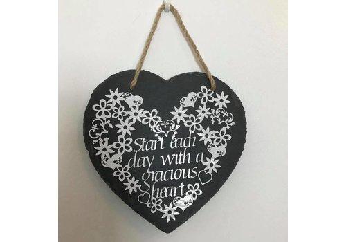 Handmade Quote Slate Heart Plaque