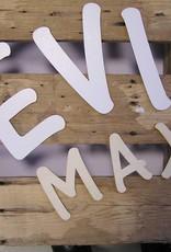 Houten letters/cijfers wit 6cm