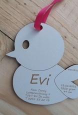 Geboortekaartje houten vogeltje 9x8cm