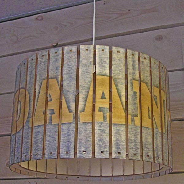 Houten hanglamp sloophout rond 40cm met naam