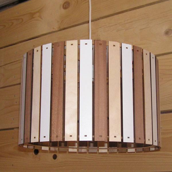 Houten hanglamp naturel rond 40cm - Copy