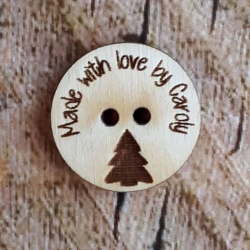 Houten knoop afbeelding kerstboom met eigen tekst