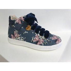 Monnalisa Monnalisa sneaker blauw bloemen strik
