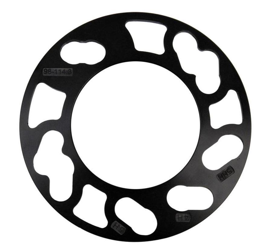 TPI Universele spoorverbrederset 5mm - 4/5-gaats - Steekmaat 98->114,3mm - zwart (10mm/as)