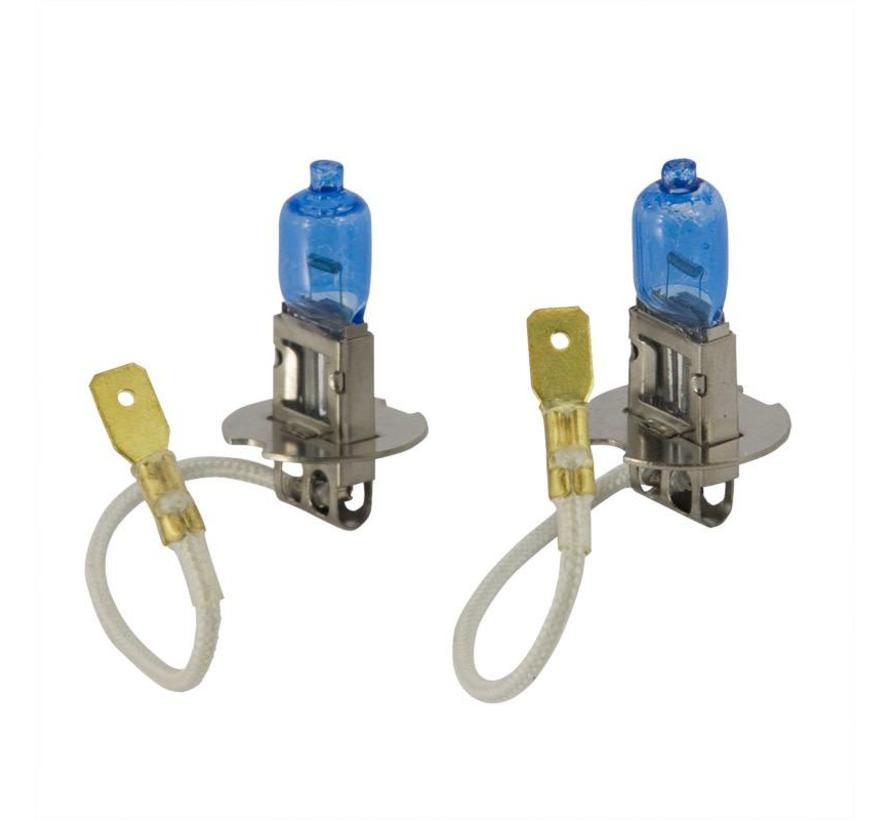 SuperWhite Blauw H3 55W/12V/4200K Halogeen Lampen, set a 2 stuks (E13)