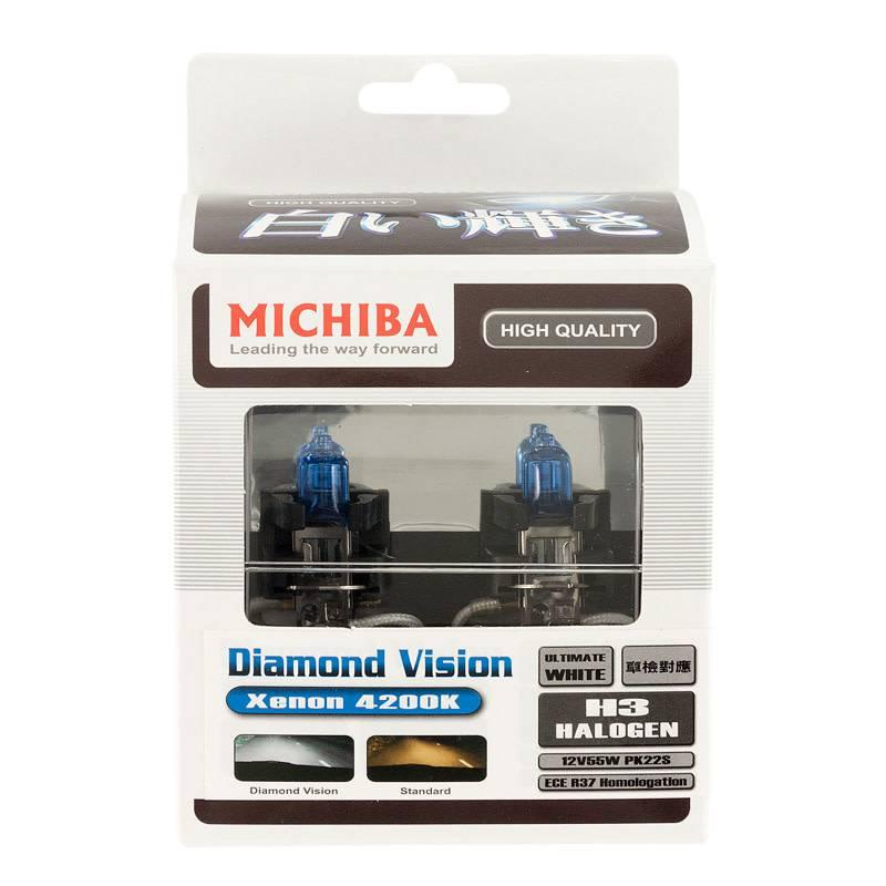 Autostyle SuperWhite Blauw H3 55W/12V/4200K Halogeen Lampen, set a 2 stuks (E13)