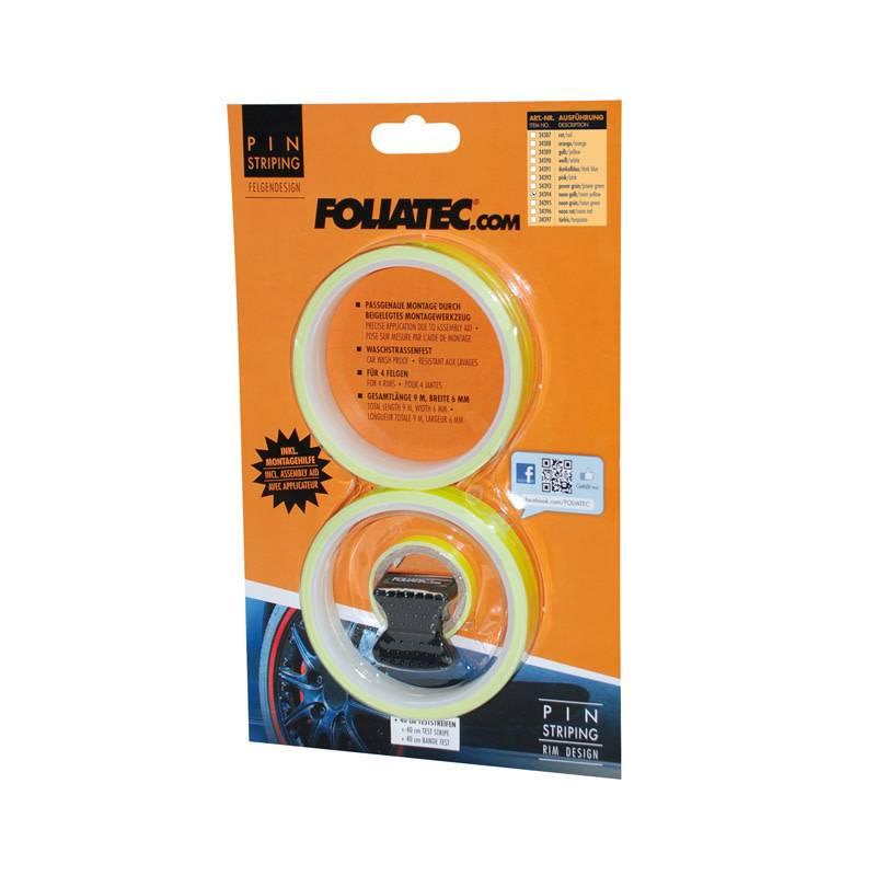 Foliatec Foliatec PIN Striping voor velgen incl. montage hulpstuk - neon geel - 4 strips 6mmx2,15meter & 1 testrol 6mmx40cm
