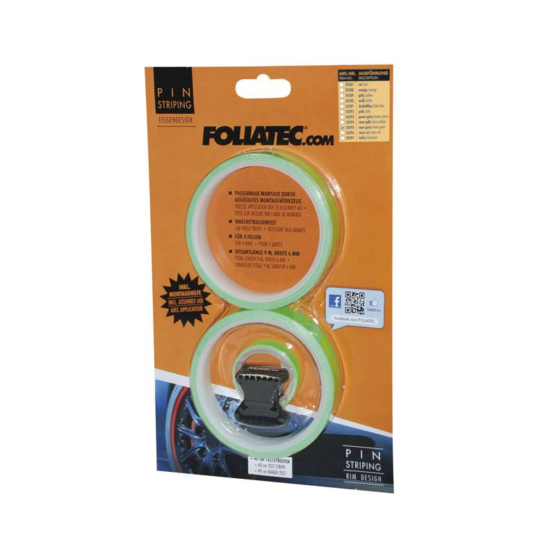 Foliatec Foliatec PIN Striping voor velgen incl. montage hulpstuk - neon groen - 4 strips 6mmx2,15meter & 1 testrol 6mmx40cm