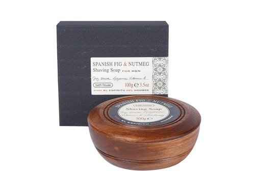 Bath House Scheerzeep in Wooden Bowl 100g Spanish Fig & Nutmeg
