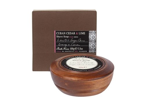 Bath House Scheerzeep in Wooden Bowl 100g Cuban Cedar & Lime