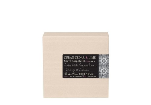 Bath House Scheerzeep Refill 100g Cuban Cedar & Lime