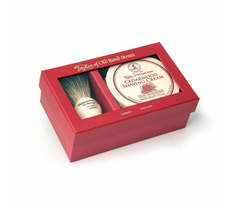 Giftbox scheerkwast en scheercrème Cedarwood