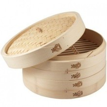 Cookware 3 Piece Bamboo Steamer Set 7""