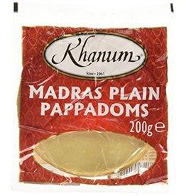 Khanum Mardras Plain Pappadoms 200g
