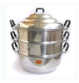 Aluminium Steamer 3 Tier Pot with Lid 24cm