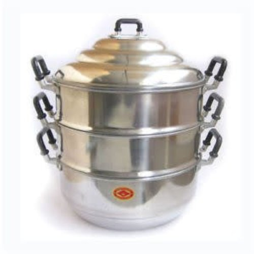 Aluminium Steamer 3 Tier Pot with Lid 24cm