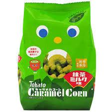 Tohato Caramel Corn Snacks Matcha Milk 77g