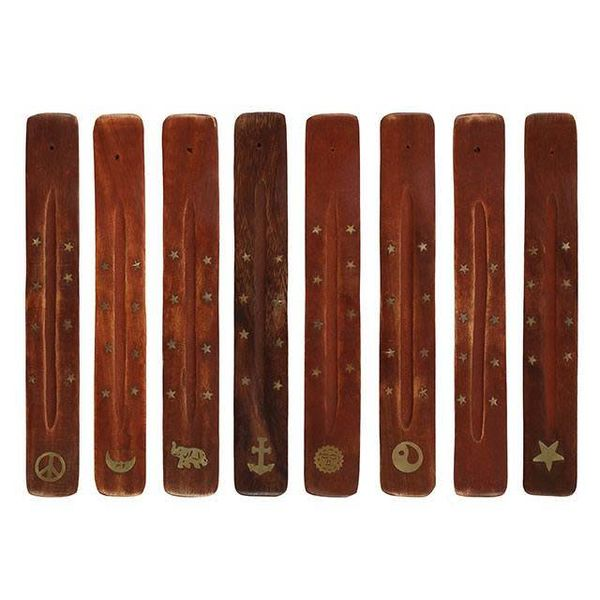 Mango Wood Incense Holder with Brass Inlay (assorted design) 1 Supplied