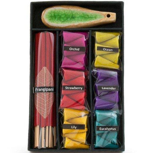 Multicoloured Incense Cone , Stick and Holder Set