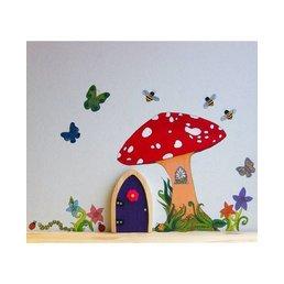 The Irish Fairy Door Company Feeëndeur Muurdecoratieset met Paddenstoelen