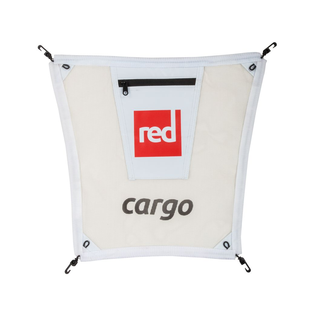 Red Paddle Co This cargo net is designed to fit on to the front attachment rings of Red Paddle Co inflatable paddle boards. Using the attached hooks it is simple to fit. There is a small zip closure pocket on the top of the net for small items. It is a neat way to secu