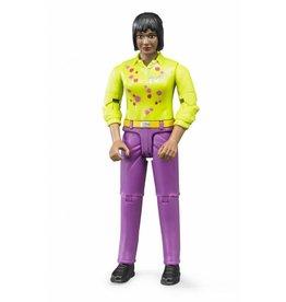 Bruder Bruder 60403 - Speelfiguur vrouw: bruin, zwart, roze jeans