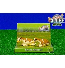 Kids Globe Kids Globe 571969 - Koeien liggend Fleckvieh (2 stuks) 1:32
