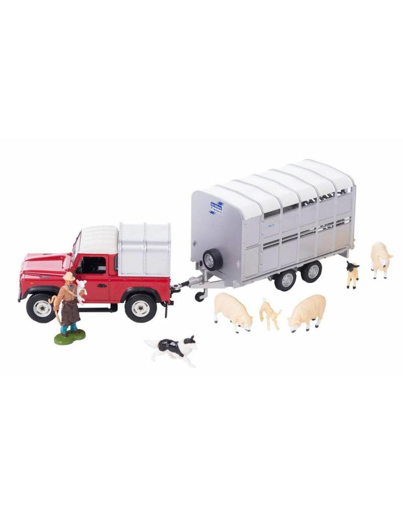 Britains Britains 43138 - Land Rover Defender 90 met aanhanger, boer en schapen 1:32
