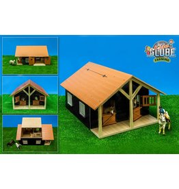 Kids Globe Kids Globe 61067 - Paardenstal hout met 2 boxen en berging (geschikt voor Schleich) 1:24