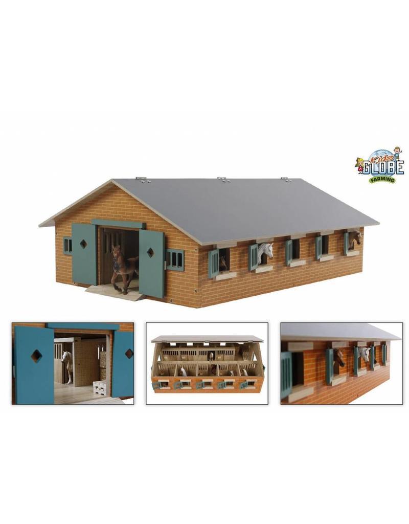 Kids Globe Kids Globe 610544 - Paardenstal met 9 paardenboxen (1:32)