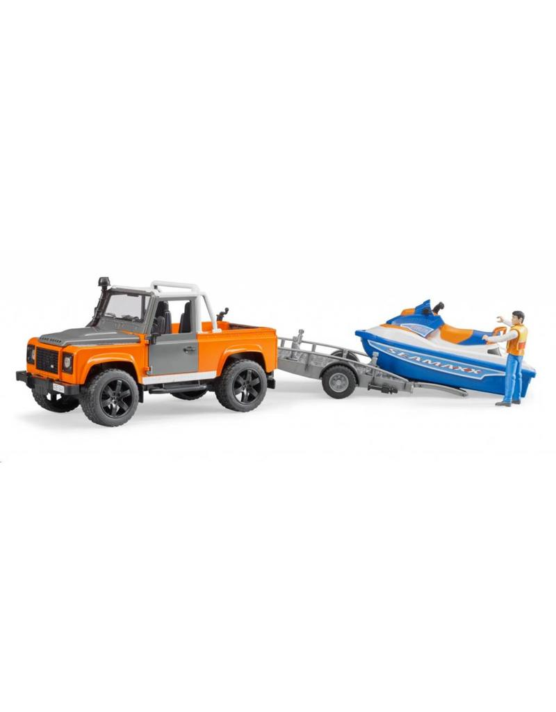 Bruder Bruder 2599 - Landrover Defender Pick Up met aanhanger en waterscooter