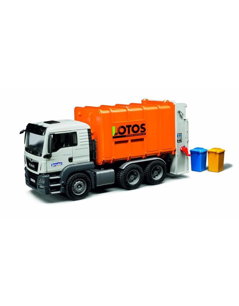 Bruder Bruder 3762 - MAN TGS Vuilniswagen oranje