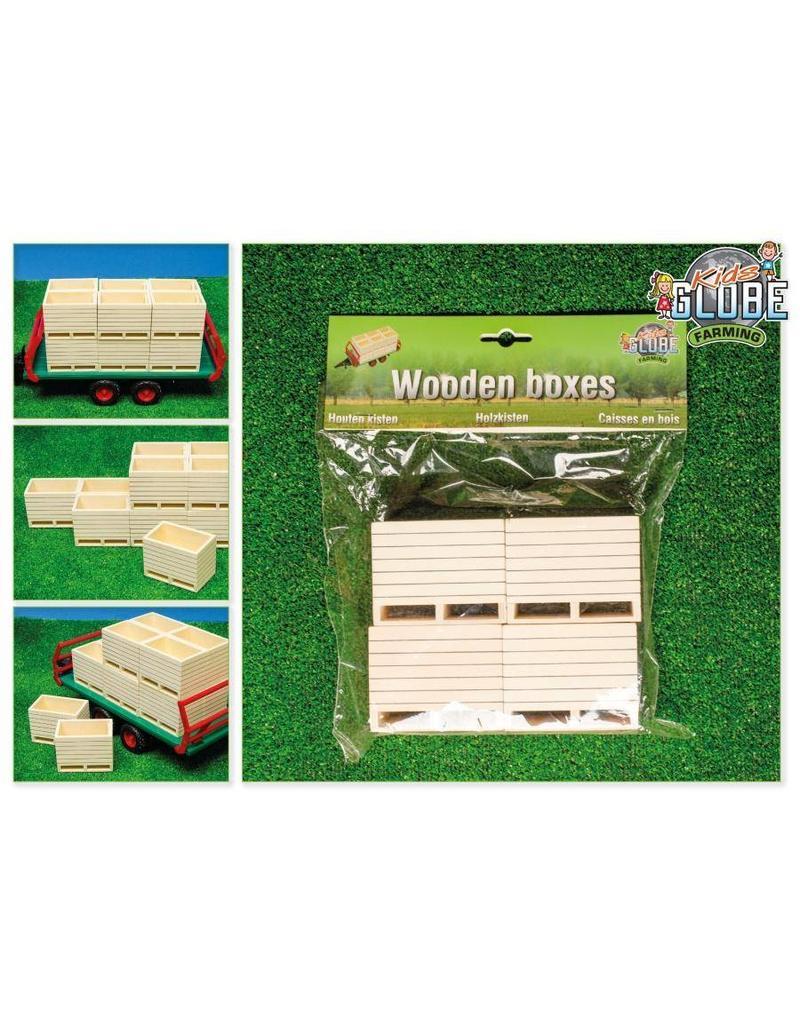 Kids Globe Kids Globe 610022 - Houten palletboxen/aardappelkisten (4 stuks) 1:16