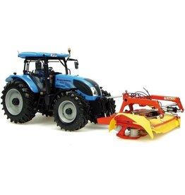 Universal Hobbies Universal Hobbies Set Landini Powermaster 220 met fronthef en Fella SM 310 maaier 1:32