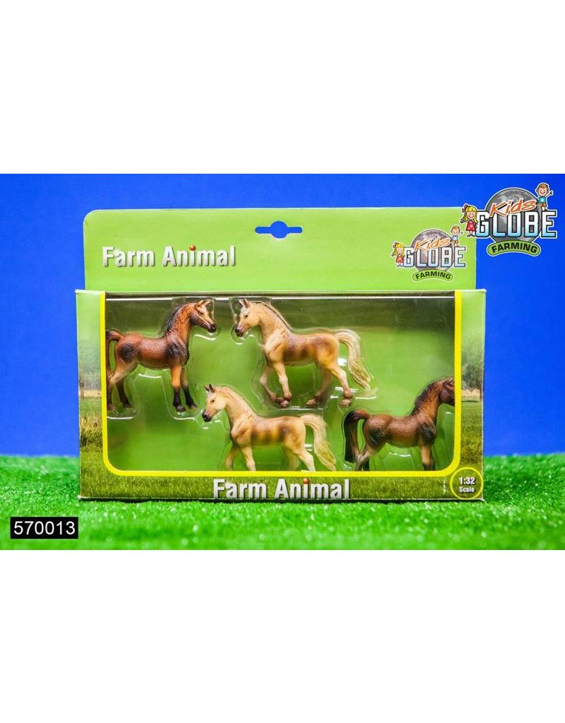 Kids Globe Kids Globe 570013 - Boerderijdier paard 4 stuks (1:32)