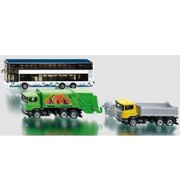 Siku Siku 1813 - Touringcar, vuilniswagen en vrachtwagen met afzetcontainer 1:87