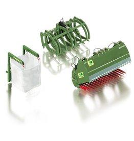 Wiking Wiking 77384 - Frontladerset B kleur groen: kuilvoersnijder, Big-Bag met zak & takkenklem