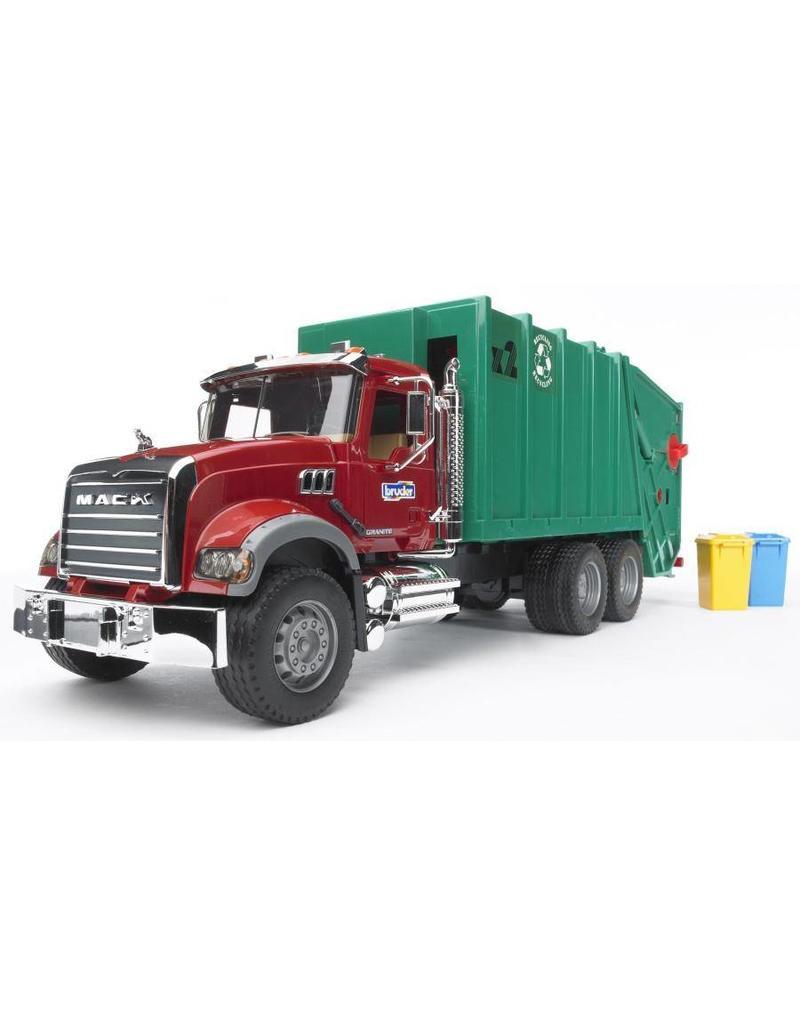 Bruder Bruder 2812 - Mack-Granite vuilnisauto rood groen